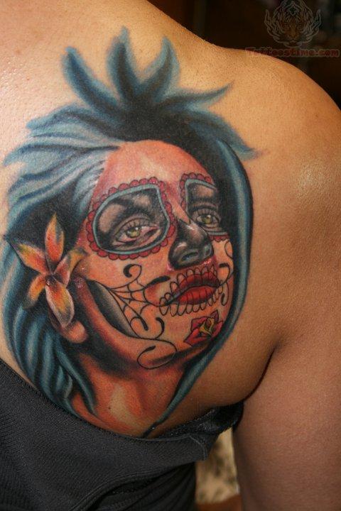 Back shoulder girl sugar skull tattoo for Female skull tattoos