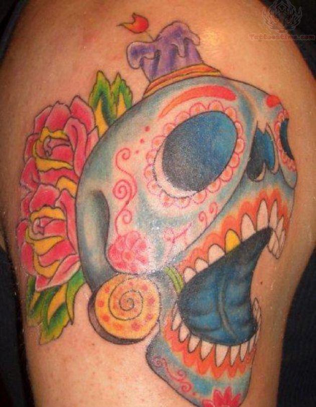Burning Candle Sugar Skull Tattoo On Shoulder