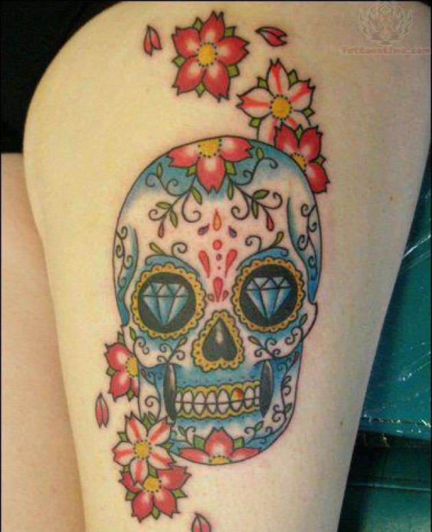 The gallery for flower sugar skull tattoo for Color skull tattoos