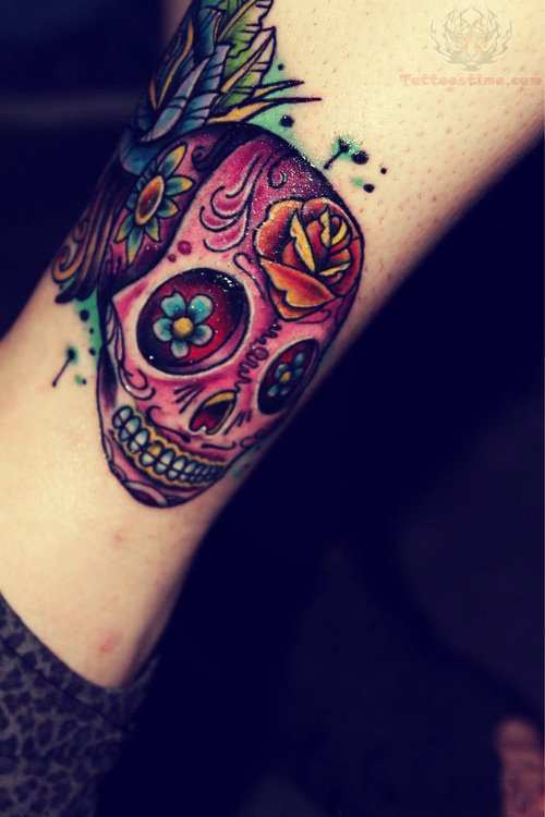 Color sugar skull tattoo on leg for Color skull tattoos
