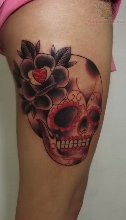 Flower Skull Leg Tattoo