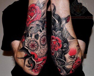grey ink sugar skull tattoos on arm. Black Bedroom Furniture Sets. Home Design Ideas