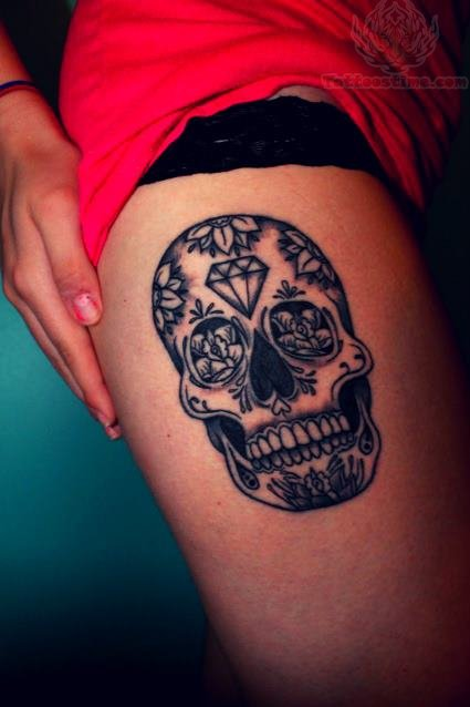 Side leg sugar skull tattoo on girl for Skull leg tattoos
