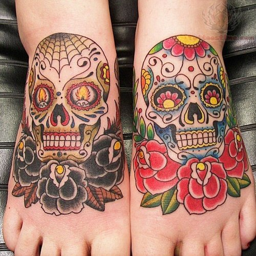 Sugar Skull Tattoo Black And Grey Sugar skull and black rose