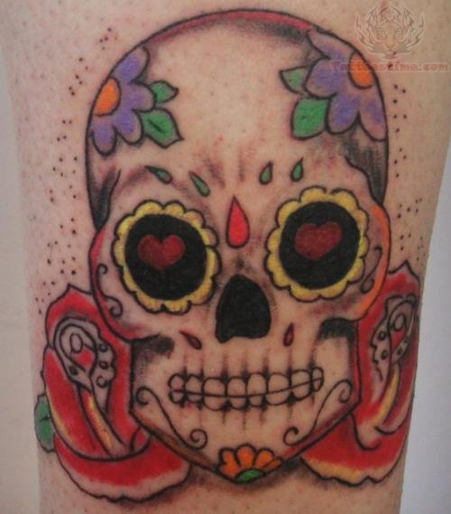 flower sugar skull tattoo - photo #23