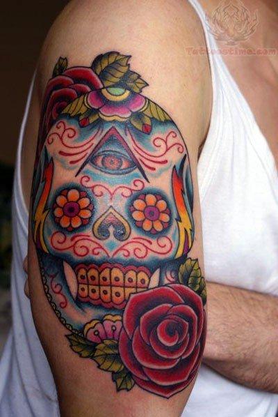 Sugar skull and roses tattoo