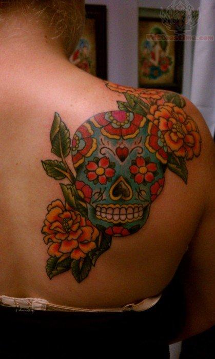 Sugar skull tattoos on shoulder workout