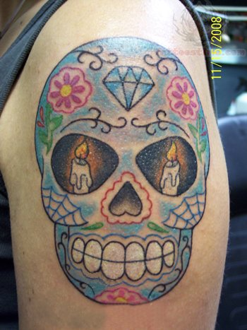 sugar skull tattoo images designs. Black Bedroom Furniture Sets. Home Design Ideas