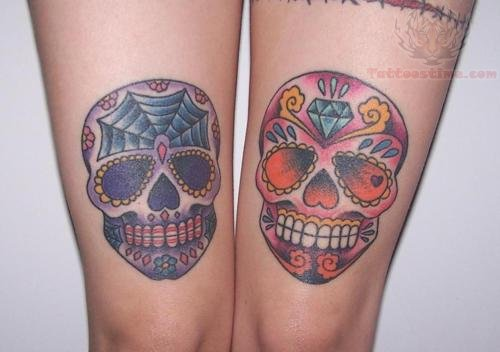 Sugar skull color tattoos on both thigh for Skull leg tattoos
