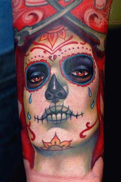 Sugar skull dia de los muertos face tattoo for Dia de muertos tattoos