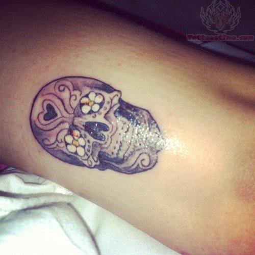 Sugar Skulls with Flowers Tattoos