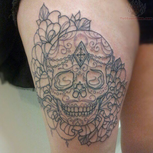 Opinion Flower skull thigh tattoo confirm