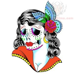 Sugar Skull Girl Face Tattoo Design