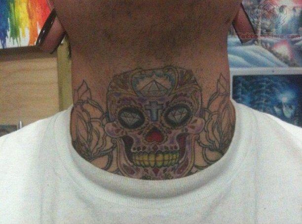 Sugar skull tattoo on neck for Skull neck tattoos