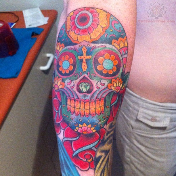 Color ink sugar skull tattoo on arm for Color skull tattoos