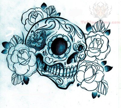Flower And Sugar Skull Tattoo Skull And Flower Designs