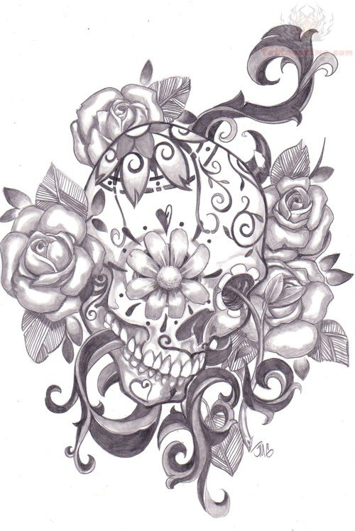 Flower Eye Sugar Skull Tattoo Skull And Flower Designs