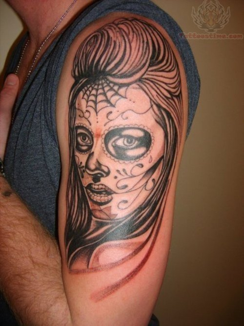 Half sleeve sugar skull tattoos for men