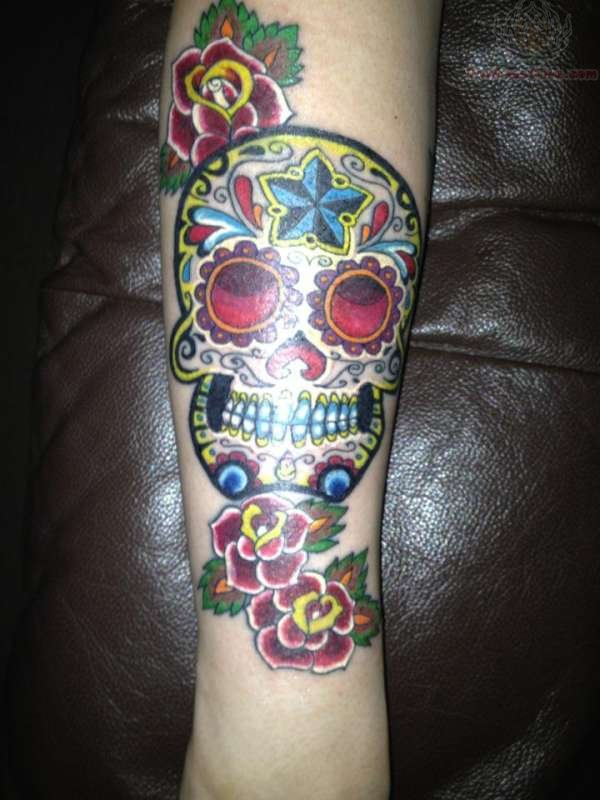 Mexican Sugar Skull Color Ink Tattoo On Arm