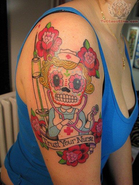 Nurse Sugar Skull Tattoo On Shoulder