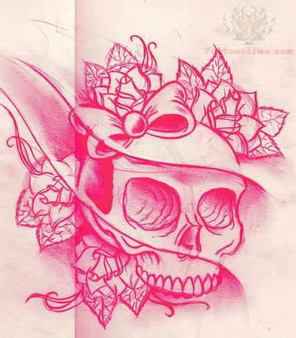pink sugar skull tattoo design. Black Bedroom Furniture Sets. Home Design Ideas