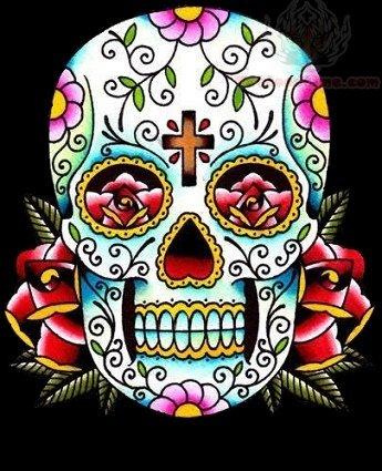 sugar skull color tattoo design
