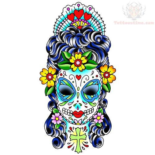 sugar skull girl face tattoo design. Black Bedroom Furniture Sets. Home Design Ideas