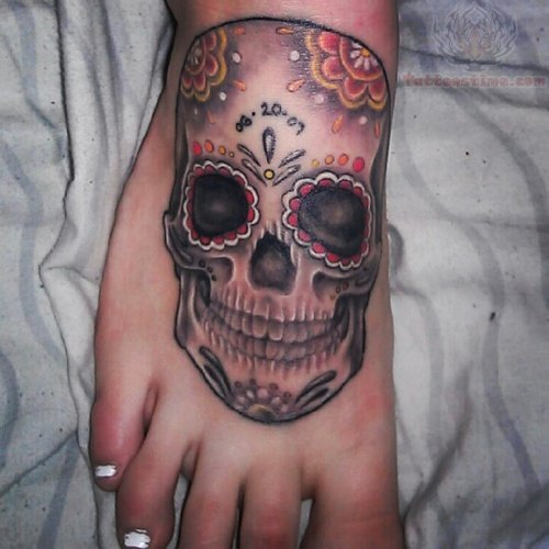 Sugar Skull Grey Ink Tattoo On FootSkull Foot Tattoos