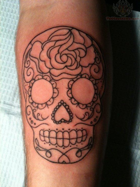 Sugar Skull Tattoos on Forearm Sugar Skull Outline Tattoo on