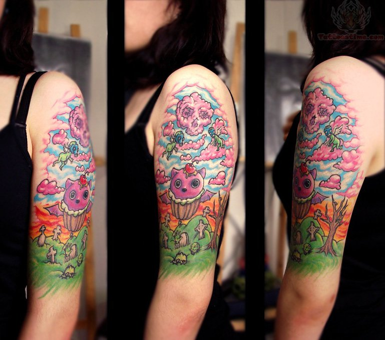 Candy Tattoo Sleeve Candy skulls tattoo on half