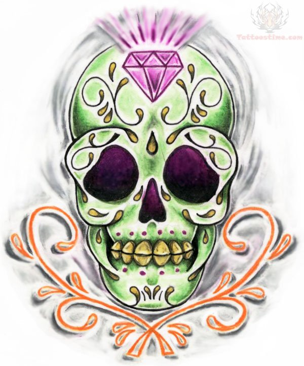 Charming Diamond Sugar Skull Tattoo Design
