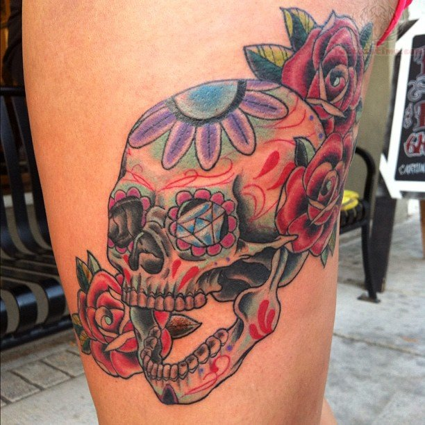 Flowers and sugar skull tattoos for Skull and flowers tattoos
