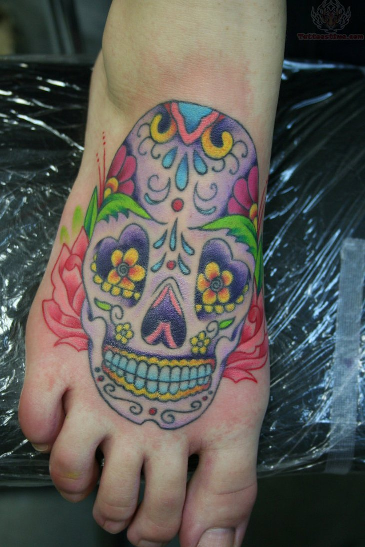 Grey Ink Roses And Sugar Skull Tattoo On Thigh