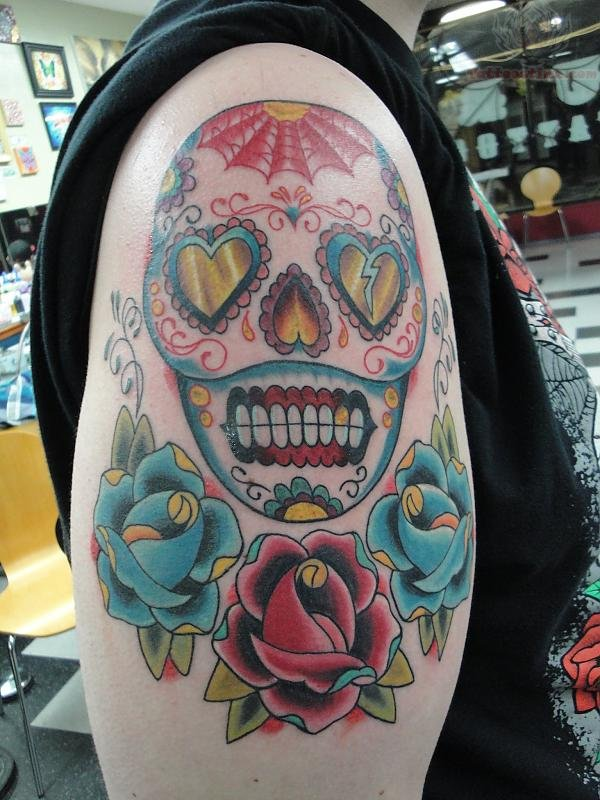 flower sugar skull tattoo - photo #21