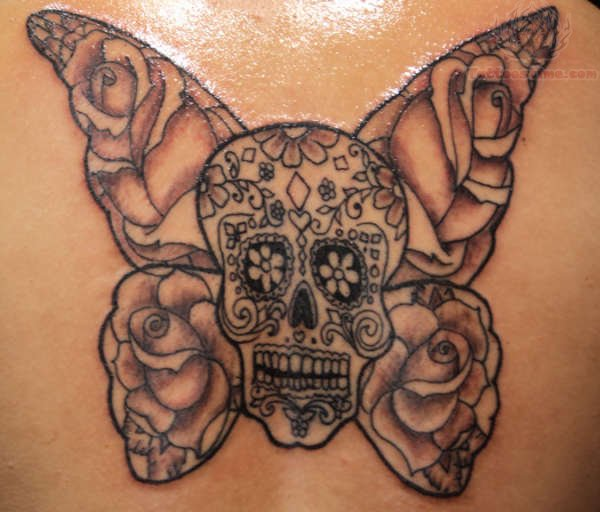 Sugar Skull With Wings Tattoo Sugar Skull And Rose Wings