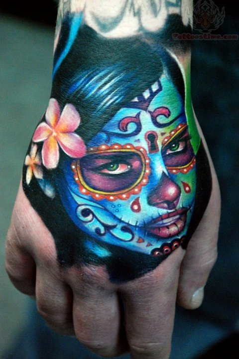Sugar Skull Dia De Los Muertos Face Tattoo On Hand