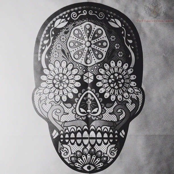Sugar Skull Tattoo Black And Grey Sugar skull grey ink tattoo
