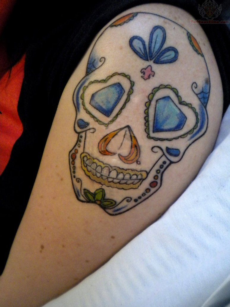 Butterflies And Sugar Skull Tattoo On Shoulder