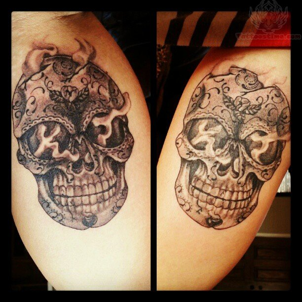 Sugar Skull Tattoos On Thigh