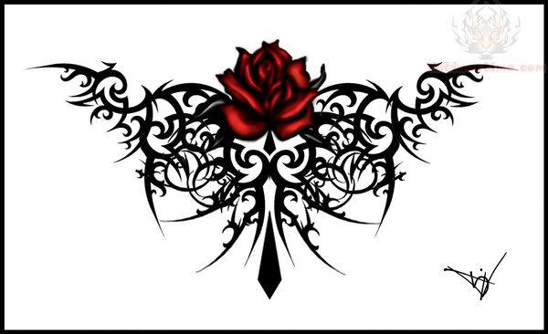 Gothic Maroon Rose Tattoo Design