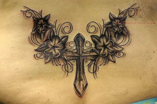 cross and flowers lowerback tattoo. Black Bedroom Furniture Sets. Home Design Ideas