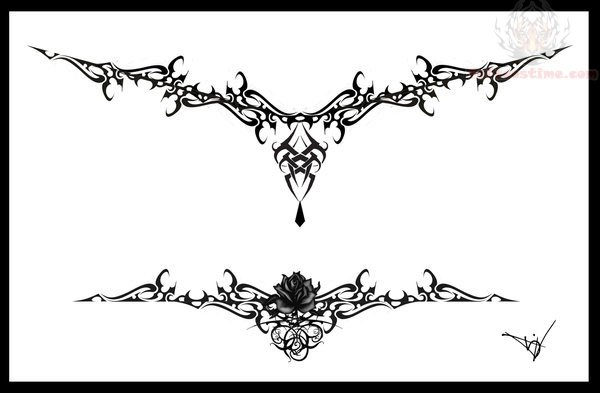 gothic tribal lower back tattoo design. Black Bedroom Furniture Sets. Home Design Ideas