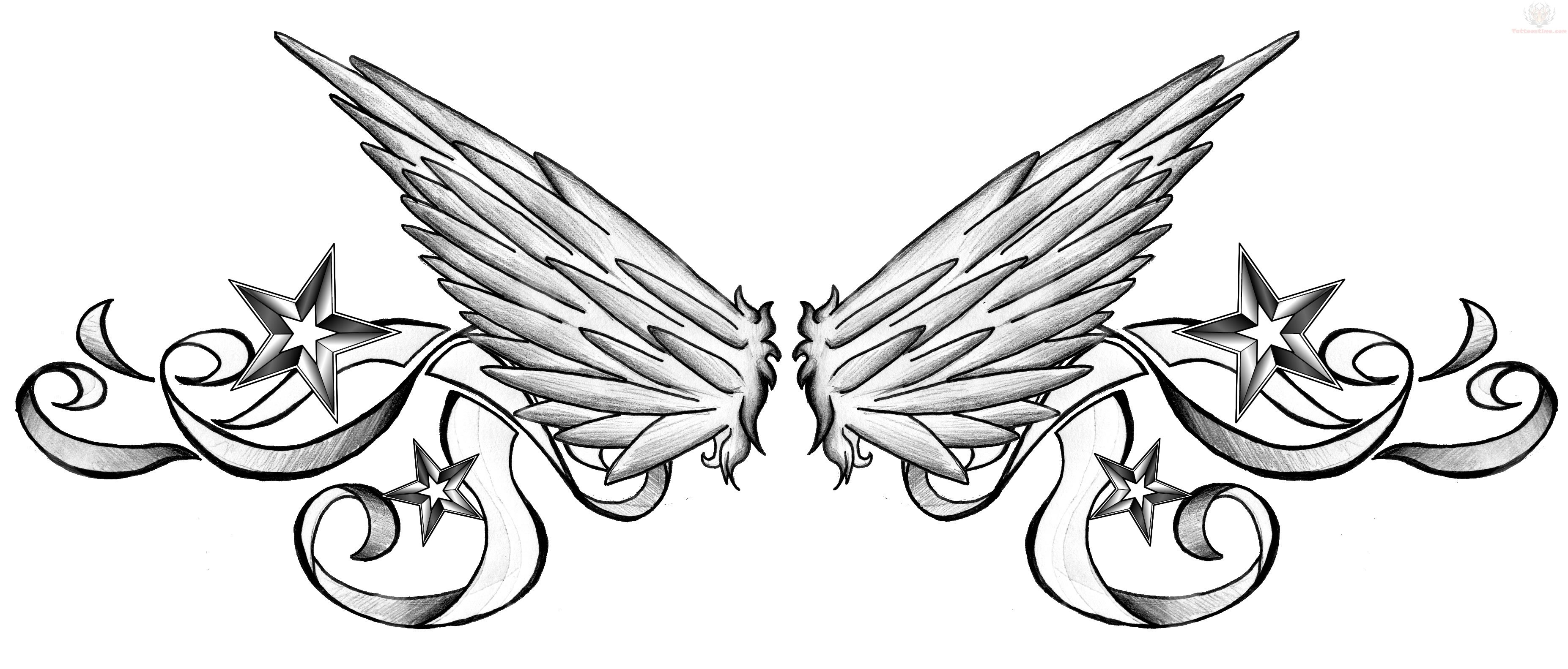 nautical stars and wings lowerback tattoo design. Black Bedroom Furniture Sets. Home Design Ideas