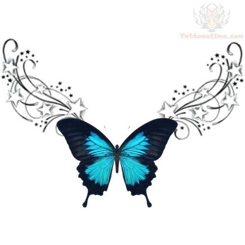lowerback blue butterfly tribal tattoo design. Black Bedroom Furniture Sets. Home Design Ideas