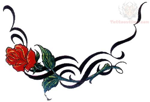Red rose and tribal lowerback tattoo design for Tribal rose tattoo designs