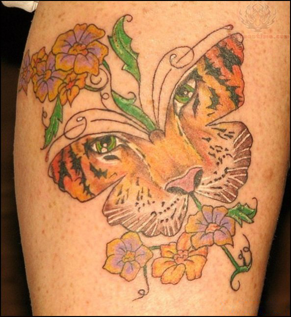 Tiger Tattoos And Flower: Tiger Butterfly And Flowers Lowerback Tattoo