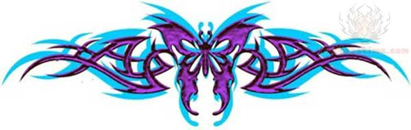 Tribal Tattoo With Color: Tribal And Butterfly Color Tattoo Design