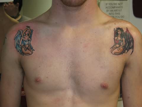 angel and devil girls tattoo on shoulders
