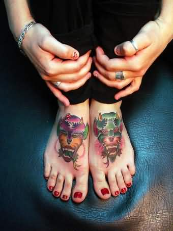 Demon Devil Tattoo On Feet