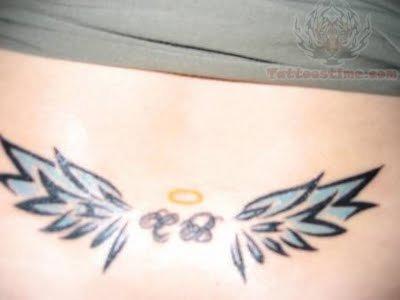 Angel Wings Tattoos On Girl Back